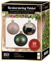 Kerstballen met piek set zilver donkergroen lichtroze voor 150 cm kerstboom