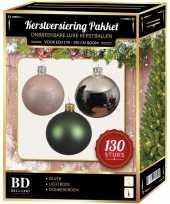 Kerstballen met piek set zilver donkergroen lichtroze voor 180 cm kerstboom