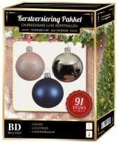 Kerstballen met piek set zilver lichtroze donkerblauw voor 150 cm kerstboom