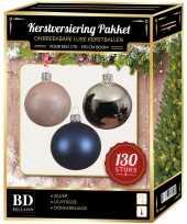 Kerstballen met piek set zilver lichtroze donkerblauw voor 180 cm kerstboom