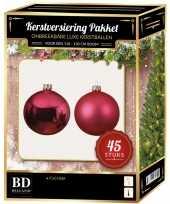 Kerstballen met ster piek set fuchsia roze voor 120 cm kerstboom