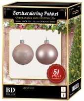 Kerstballen met ster piek set lichtroze voor 120 cm kerstboom 10170419