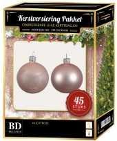 Kerstballen met ster piek set lichtroze voor 120 cm kerstboom