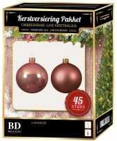 Kerstballen met ster piek set oud roze voor 120 cm kerstboom