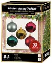 Kerstballen pakket 93 stuks met piek gekleurd