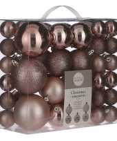 Kerstballenpakket 46x lichtroze kunststof kerstballen mix