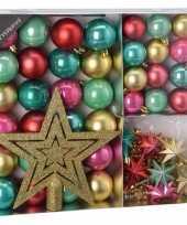 Kerstboom decoratie set 45 delig roze groen rood