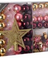 Kerstboom decoratie set 45 delig roze