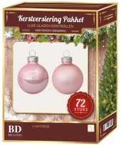 Kerstboomversiering kerstballen set roze 72 stuks