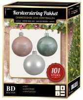 Luxe complete versiering set wit lichtroze mintgroen voor 150 cm kerstboom