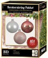 Luxe complete versiering set wit oud roze lichtroze voor 150 cm kerstboom