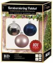 Luxe complete versiering set zilver lichtroze donkerblauw voor 150 cm kerstboom