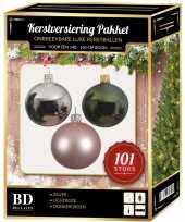 Luxe complete versiering set zilver lichtroze donkergroen voor 150 cm kerstboom