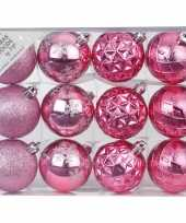 Set van 24x luxe roze kerstballen 6 cm kunststof mat glans